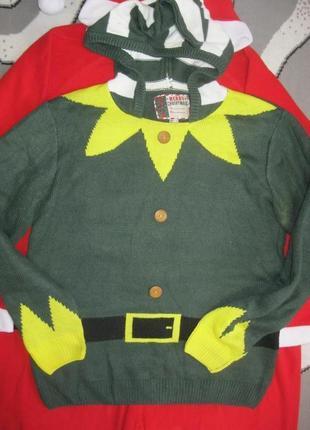 Эльф классный свитер свитшот джемпер с капюшоном теплый и не толстый л
