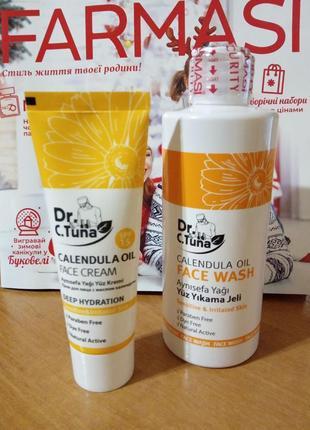 Очищающий гель и крем для лица с маслом календулы farmasi calendula oil dr.tuna