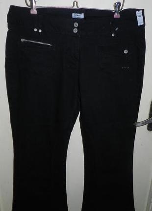 Стрейч-плотные,чёрные джинсы-капри,с карманами и стразиками,бол.18-20разм.,x-mail