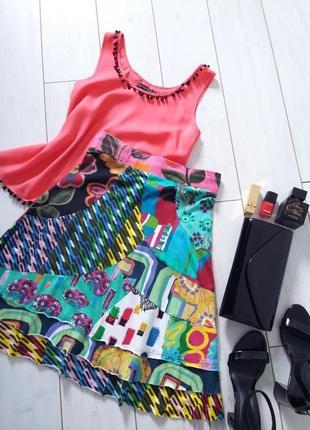 Дизайнерская яркая трикотажная юбка миди трапеция desigual..# 250