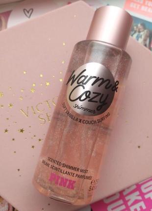 Victoria's secret pink спрей для тела с шиммером warm cozy с блестками victorias secret