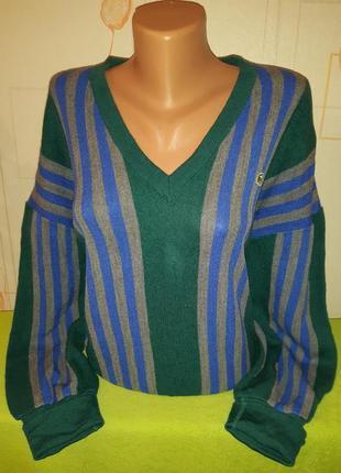 Франция, оригинал свитер /джемпер lacoste 100% шерсть винтаж оверсайз