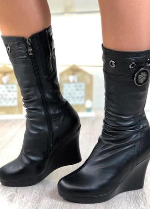 Сапоги женские кожаные зимние ботильоны на цигейке, черный, 37