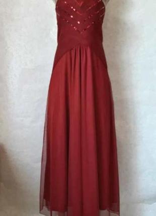 Фирменное bodyflirt платье в пол с фатином и паетками (марсал/бордо), размер хс-с