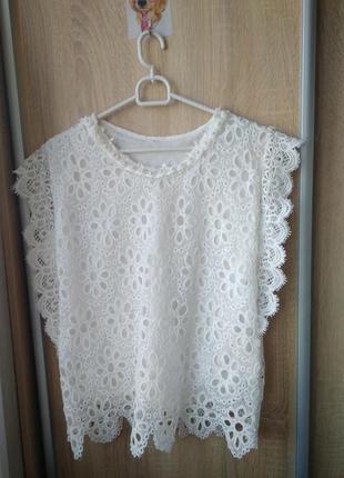 Olko белая красивая блуза топ блузка кофта футболка кружевная новая