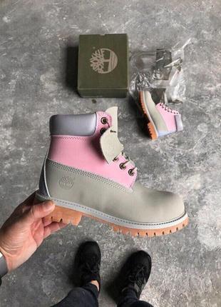 Акция!!! женские осенние ботинки/ сапоги timberland pink/ gray 😍 без меха