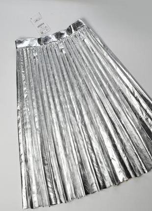 Юбка плиссе zara металлик серебро