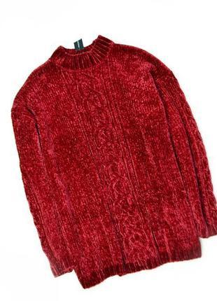 Велюровый удлиненный свитшот оверсайз свитер