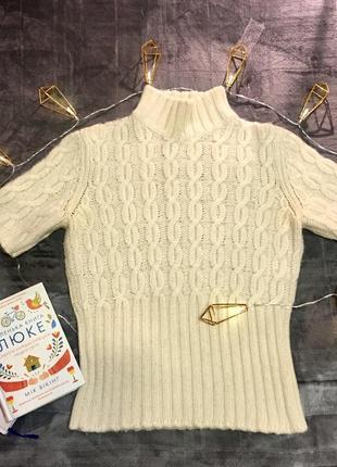 Брендовый свитер miu miu с укорочёнными рукавами