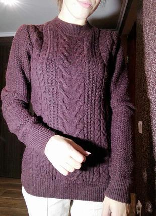 Теплый свитер кофта в косичку next шерстяной джемпер пуловер под горло