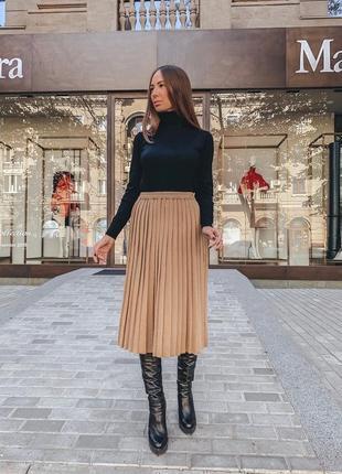 Плиссированная юбка карамельного цвета