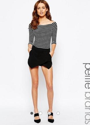 Черные шорты-юбка new look