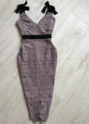 Лавандовое кружевное миди платье new look