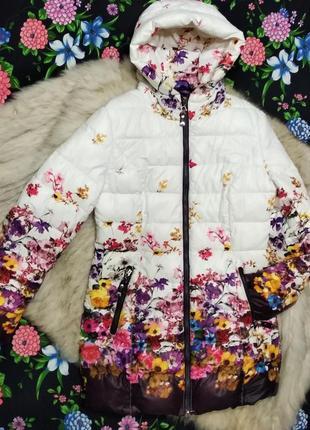 Зимнее пальто с цветочным принтом / пуховик / с капюшоном