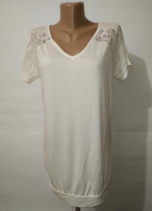 Белая нарядная вискозная блуза с кружевными вставками next uk 10/38/s