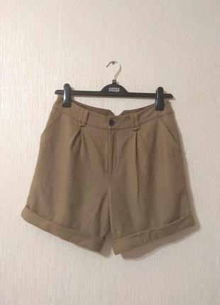 Крутые теплые шерстяные бежевые шорты цвета кемел размер s-m