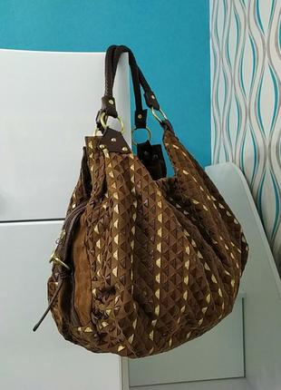 Вместительная сумка шоппер замш шоколад