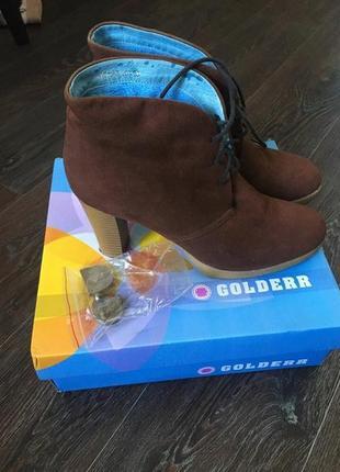 Ботинки ботильоны сапоги челси каблук шнурки замш
