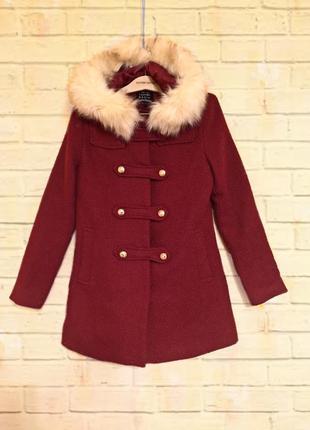 ☔️демисезонное пальто с мехом cache cache
