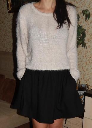 Теплый пушистый свитер травка размер с