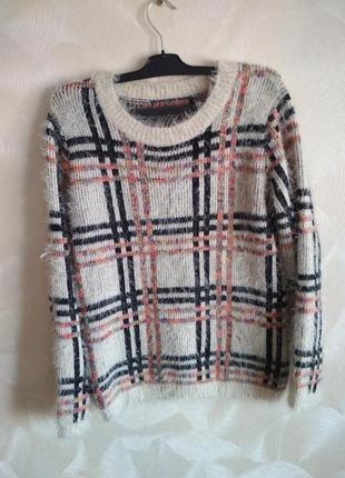 Модный пушистый теплый свитер травка , свитшот qed london