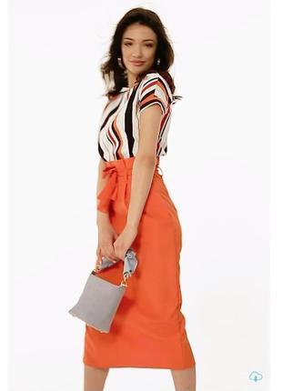 Платье костюм юбка миди + топ в полоску
