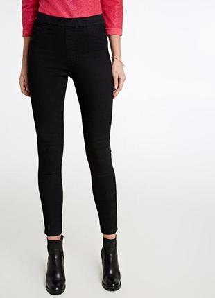 🌿обнова 🎁1+1=3 базовые черные узкие высокие джинсы джеггинсы, размер 44 - 46
