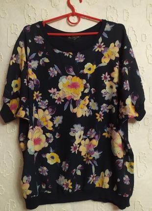 Стильная блузка,принт цветы