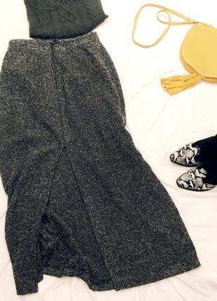 Спідниця на зиму / тёплая миди / макси юбка на зиму зимняя з разорезом и высокой посадкой