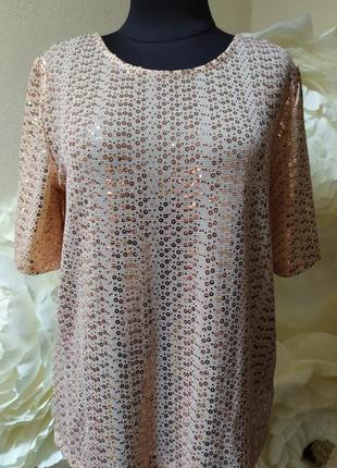 Нюдовая блуза в паетки