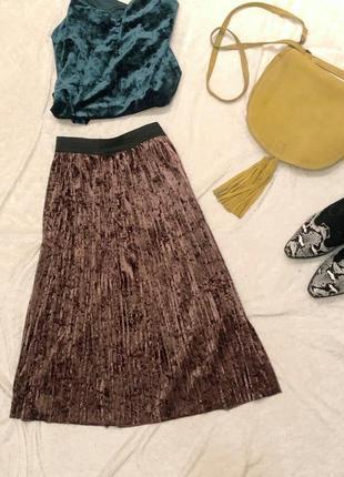 Спідниця велюрова / плиссированная юбка плиссе велюровая бархатная