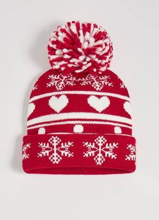 Новая красная шапка польша новый год рождество узор снежинка снег сердце полоски помпон