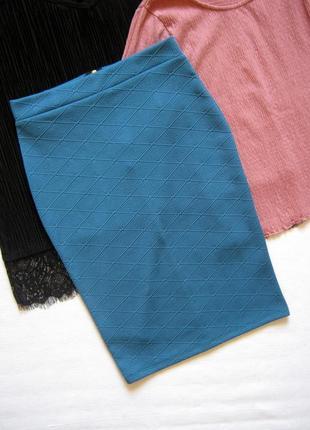 Фактурная юбка миди с высокой посадкой