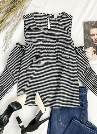 Блуза в мелкую полоску с открытыми плечиками bl 1945122 h&m