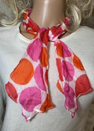 Миниатюрный шелковый шарф натуральный шелк сумочный шейный шелковый платок в горошек