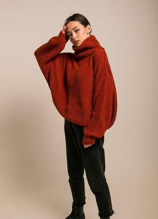Трендовый оверсайз объемный теплый вязаный свитер oversize цвета крупная вязка