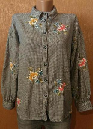 Рубашка с вышивкой,объёмный рукав размер 10-12 topshop petite
