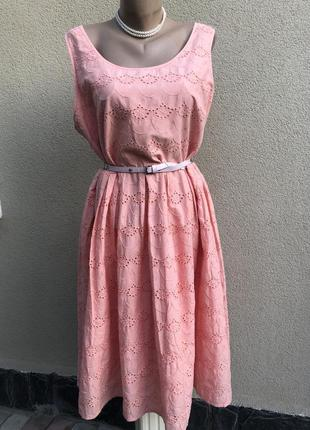 Розовое платье,сарафан с кружевом,прошва,хлопок,большой размер,