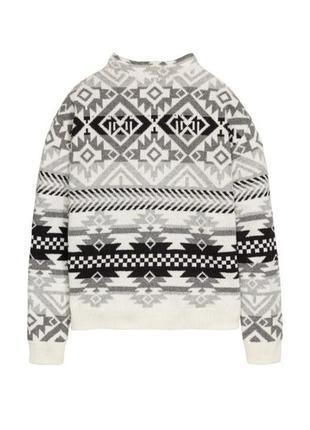 Кофта свитер джемпер с орнаментом зимний серо-белый горловина стойка оверсайз