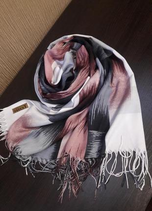 Абстракция💓пудра серый белый кашемировый шарф шаль палантин