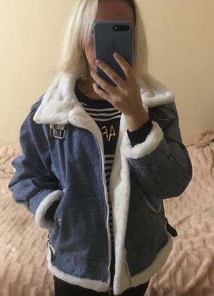 Тёплая джинсовая куртка с мехом куртка джинсовая зимняя размер оверсайз