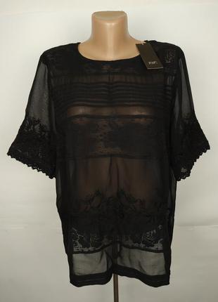 Блуза красивая новая легкая кружевная большой размер f&f uk 18/46/xxl