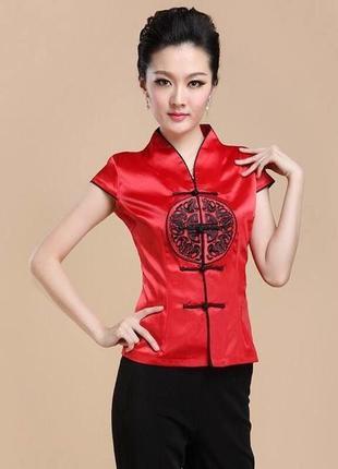 Китайская традиционная атласная блуза китаянка китай 42-44