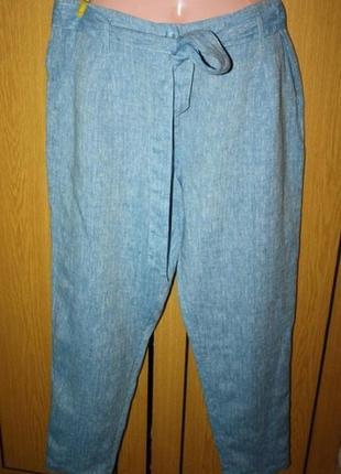 Голубые льняные брюки поясок, карманы. 14 р.