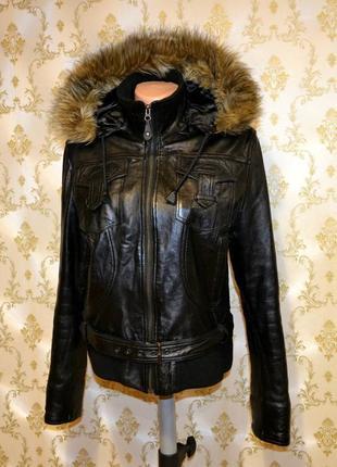 Стильная утепленная осенняя  куртка из натуральной кожи