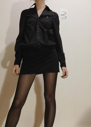"""Черное хлопковое короткое платье-рубашка """"diesel"""", размер s"""