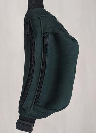 Большая бананка из натуральной кожи, сумка на пояс вместитетльная зеленая кожа