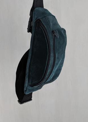 Большая бананка из натуральной кожи, сумка на пояс вместитетльная малахитова замш