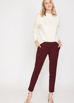 Бордовые брюки из вискозы koton m-l/ 10-12 размер