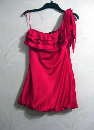 Фееричное яркое эффектное платье ax paris красное вечернее выпускное как шёлк
